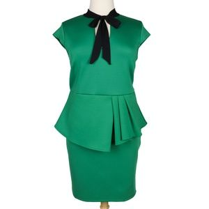 Lucky Lady Green Pussybow Pleated Peplum Dress